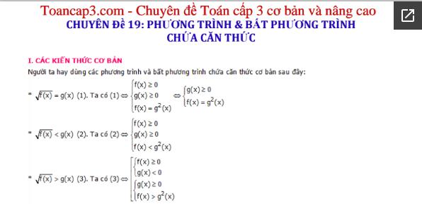 Phương pháp giải phương trình và bất phương trình chứa căn thức